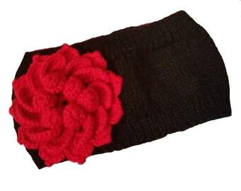 Ear Warmers Headband, Knit Red Flower Headband, Knit Headwrap, Winter Headband, Knit Winter Ear Warmer, Knitted Ear Warmer Red Flower