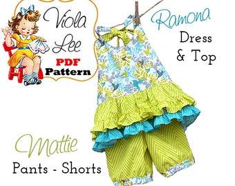 Ramona Girls Sewing Patterns, pdf. Girls Summer Halter Dress Pattern AND Shorts/Pants Pattern Set, Toddler Dress Pattern. Girls Top Pattern
