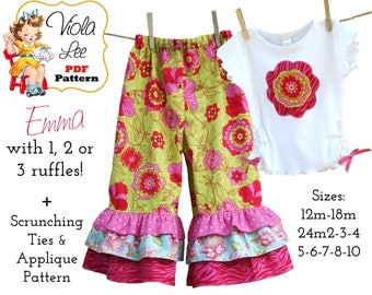 Girl's Pants Patterns, Toddler Ruffle Pants, PDF Sewing Patterns. Applique & Scrunch Ties. Instant Download. Girls Ruffle Pants, Emma