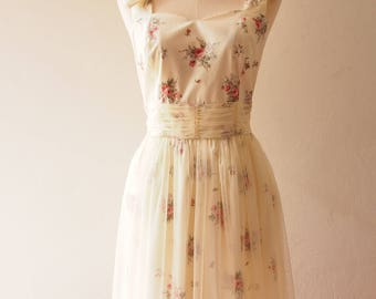 FAIRY ROMANCE - Off White Cream Tulle Dress Fancy Fairy Tale Bridal Dress Vintage Inspired Dress Floral Dress Wedding Gown TutuDress