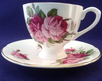 Taylor & Kent English Bone China Cup and Saucer, Pink and Red Roses