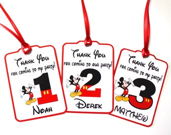 Set of 12 Thank You Party Favor Tags,  Mickey Mouse Personalized Happy Birthday Party Favors Thank You tags, Mickey Mouse Party Supplies