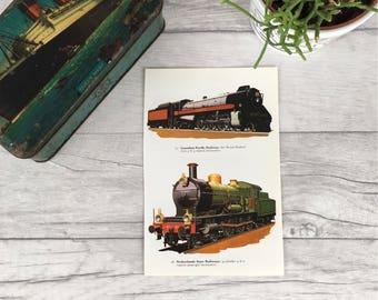 Steam train print, vintage train print, railway print, gift for husband, nursery decor, office art print, mini vintage print, railway art,
