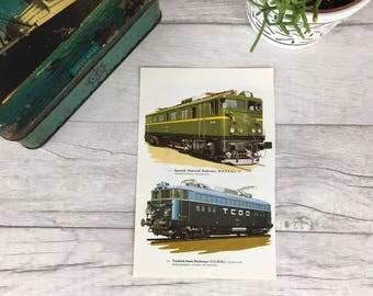 Dorm Decor, Mini vintage print, vintage home decor, living room art, retro home decor, train print, national railways, gift for grandpa