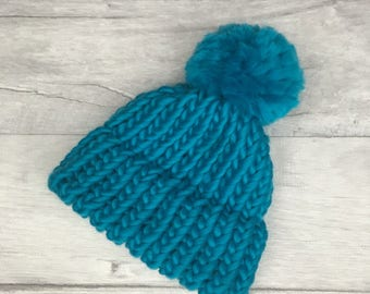Turquoise blue beanie hat, baby knitted hat, first christmas, gender neutral baby, bright baby clothes, bobble hat children, etsy uk, xmas