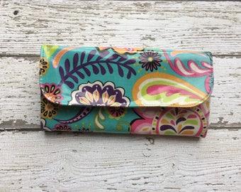 Blue Floral Cash Envelope Budgeting Wallet, Cash wallet system
