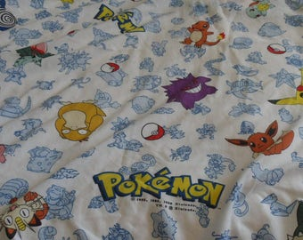 Pokemon Twin Fitted Sheet - Pokemon fabric - 1998 Nintendo - Pikacho - quilting mixed media art projects - sewing craft