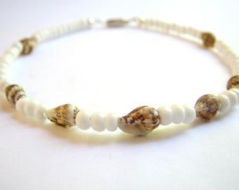 Ankle Bracelets, White Beaded Sea Shell Anklet,  Bridal Shell Ankle Bracelet, Beach Ankle Jewelry