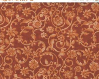 "ON SALE Floral Fabric, 54"" Wide, Tonal Scroll, Orange Fabric, Floral Fabric, Orange Floral Fabric, 05092"