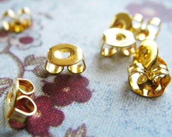 24pcs/12 pairs Earring Stopers -Brass Earnuts- 5x3x4.5mm, Hole: 1mm
