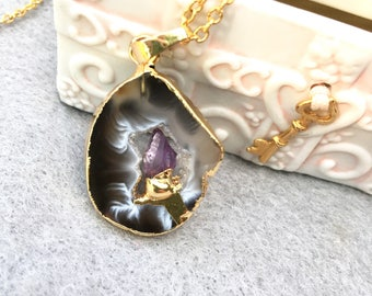 Gold Dipped Amethyst Agate Slice Pendant Necklace Reiki Yoga Healing