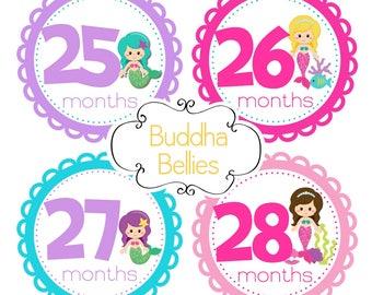 Third Year Baby Month Stickers - Mermaid Baby Months 25-36 Baby Monthly Stickers - 3rd Year Baby Sticker Set - Mermaid Milestone Stickers