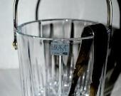 weekend sale crystal ice bucket Mikasa ice basket with metal handle  vintage ice bucket