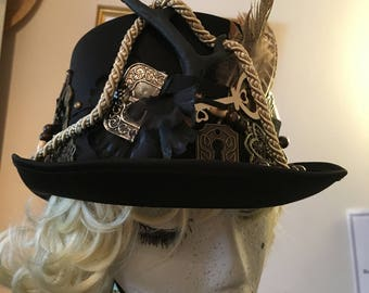 Unique Victorian style Black Top Hat steampunk inspired stag horn keys feathers