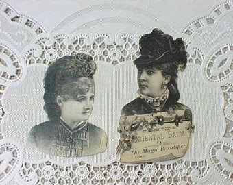 Two Handsome Victorian Lady Advertising Scraps