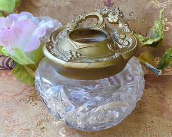 Beautiful Art Nouveau Era Glass and Metal Hair Receiver for Your Vanity