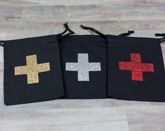 Set of 10 Glitter Hangover Survival Kit Black Drawstring Bag Gift Bag Bachelorette Bachelor
