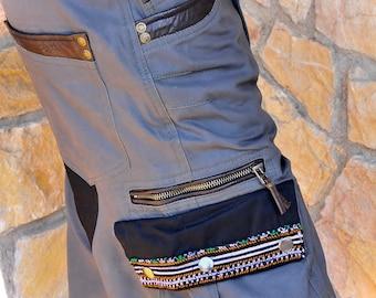 Mens Cargo pants, Canvas and leather Biker cargo shorts, Burning man short pants, Tribal mens shorts, Mens pocket pants