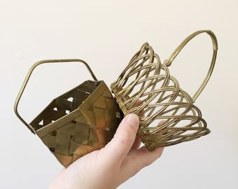 Vintage Set of Two Small Brass Baskets -- Accessories Holder -- Boho Home Decor
