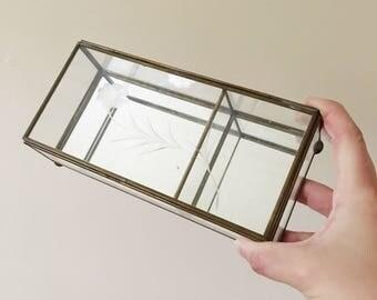 Vintage Glass Floral Jewelry Box -- Glass Trinket Hinged Box -- Bobo Home Decor