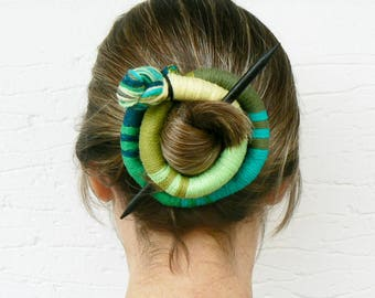 Ethnic slide barrette, Geometric bun holder, Stick Fascinator, Round Shawl brooch, Large hair barrette, Ponytail Thick hair clip, Green Teal