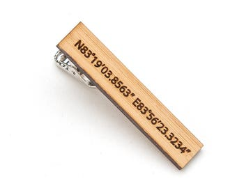 Wood Tie Clip - 5th Anniversary Gift for Men - Wood Tie Clip Engraved - Latitude Longitude Tie Clip - Eco-Friendly Gift - Tie Bar for Groom