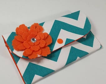 Cash Budget Wallet System with Dividers, Coupon Holder, READY TO SHIP -Turquoise Chevron