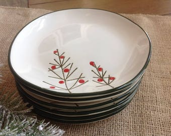 Set of 6 TAG Christmas Canape Plates with green trim