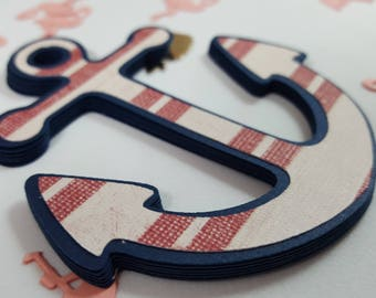 6 Anchor die cuts, Red, White & Blue Embellishment die cuts