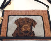 Handcrafted Needlepoint Dog Wallet Purse (C) with removable/ adjustable strap (Vintage Deadstock/New)