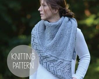 KNITTING PATTERN asymmetric lace knit shawl - Banks Shawl