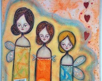 A Love Trio of Aura Angels Art Work. Mixed media artwork. Original Art for Sale, Original Art Work, Fine Art, Original Painting, Gift Women