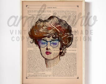 Edwardian Beautiful Baroque Librarian Original Collage Print on an Unframed Upcycled Bookpage