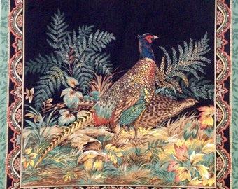 Pheasant hunters pillow panel, autumn fall leaves, bird hunting, pheasant fabric quilt panel