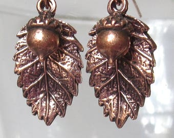 Rosy Copper Tanoak Leaf and Acorn Earrings with Rose Gold Filled Earwires