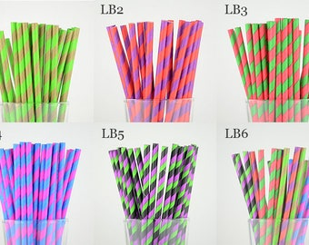 Colorful Striped Paper Straws/Party Supplies/Wedding/Party Decor/Cake Pop Sticks/Mason Jar Straws-Choose Your Own Color