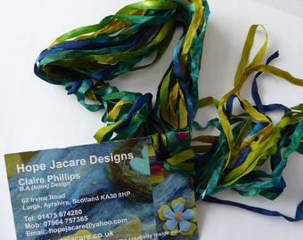 5 x 2m hand dyed silk embroidery ribbons  - SER53