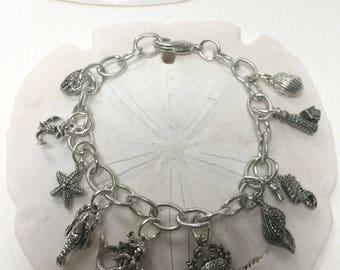Beach treasures charm bracelet, beachcomber charm bracelet,sea inspired charm bracelet, charm bracelet,seaside charm bracelet