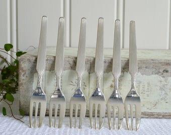 Cake and pastry forks, vintage Swedish dessert cutlery, Gab Sweden , silver plate