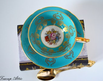Aynsley Turquoise J A Bailey Signed Teacup and Saucer,  English Bone China Tea cup Set, Tea Party, ca. 1939