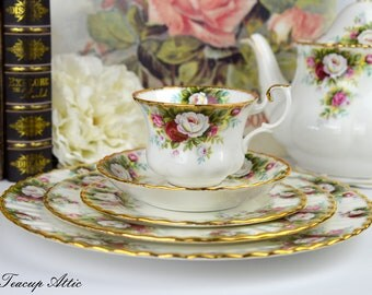 Royal Albert 5 Piece Place Setting Celebration, Bone China English Tea Cup Set, Replacement China, ca 1969-2001