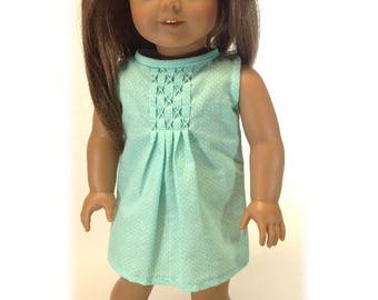 Mint green pleated doll dress, 18 inch doll clothing, summer doll dress, sleeveless dress