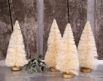 "Sisal Tree, 4"" Bottle Brush Tree, Set of 2, Vintage Style Tree, White Sisal, Mini Tree, Ivory Trees, Christmas Tree, Fariry Garden Tree"