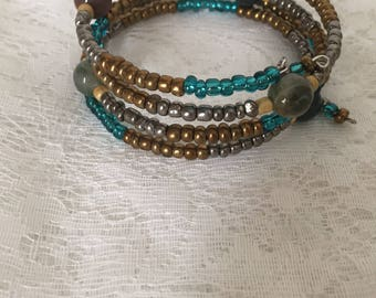 Fancy Jasper 4 Loop Memory Wire Wrap Bracelet