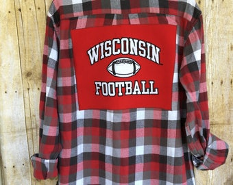 Upcycled Flannel Shirt With Recycled T Shirt Back Patch, Wisconsin Football Recycled T Shirt Back Art, Red and Black Flannel Shirt, Badgers