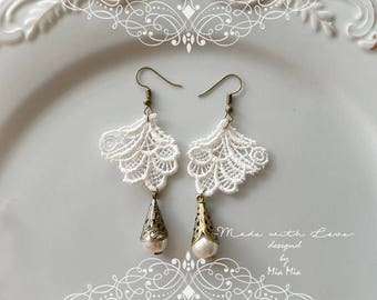 White Lace Earrings , Pearl earrings Chandelier Dangle earrings Romantic Elegance Boho gypsy victorian jewelry lace  fashion