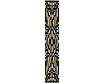 Art Deco 11 Peyote Bead Pattern, Bracelet Cuff Pattern, Bookmark Seed Beading Pattern Miyuki Delica Size 11 Beads - PDF Instant Download