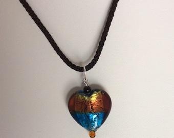 Orange, blue & black design Glass bead heart pendant, black Onyx bead and orange Czech crystal with black silk cord. - in gift box.