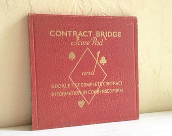 Vintage Contract Bridge Score Pad Book Condensed Instructions Booklet Free Shipping