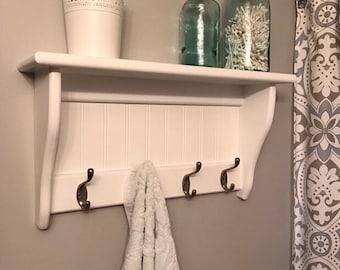 Custom Bead Board Shelf with Hooks